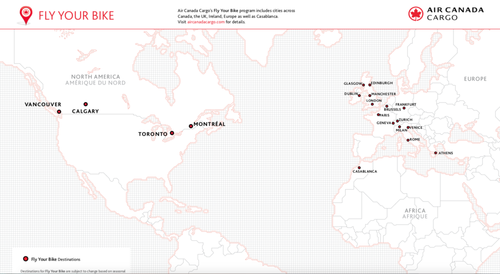 Air Canada FLY YOUR BIKE Coverage Map
