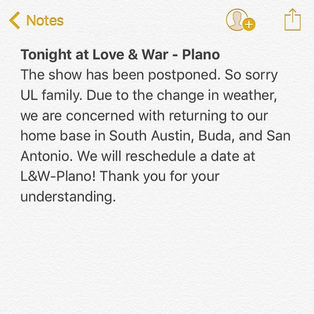 Sorry y'all! We're concerned with flooding. The show will be rescheduled. #hurricaneharvey