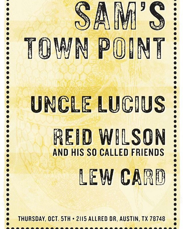 JUST ADDED! Thursday October 5th in #Austin w/ @lewcard + Reid Wilson and His So Called Friends. Music starts at 8:45PM.
