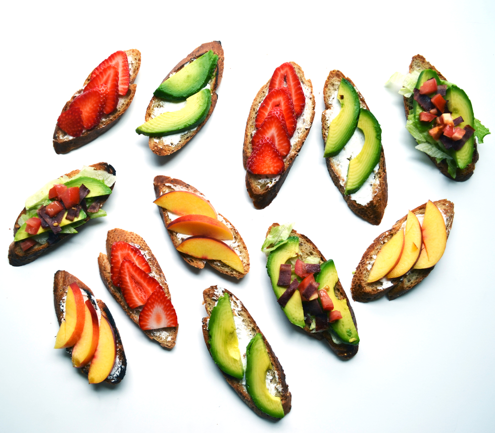Serve Crostinis scattered in a fun way.