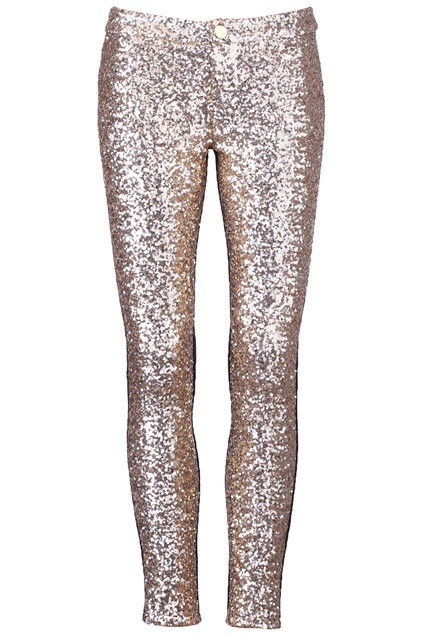 Golden Sequined Black Panel Leggings