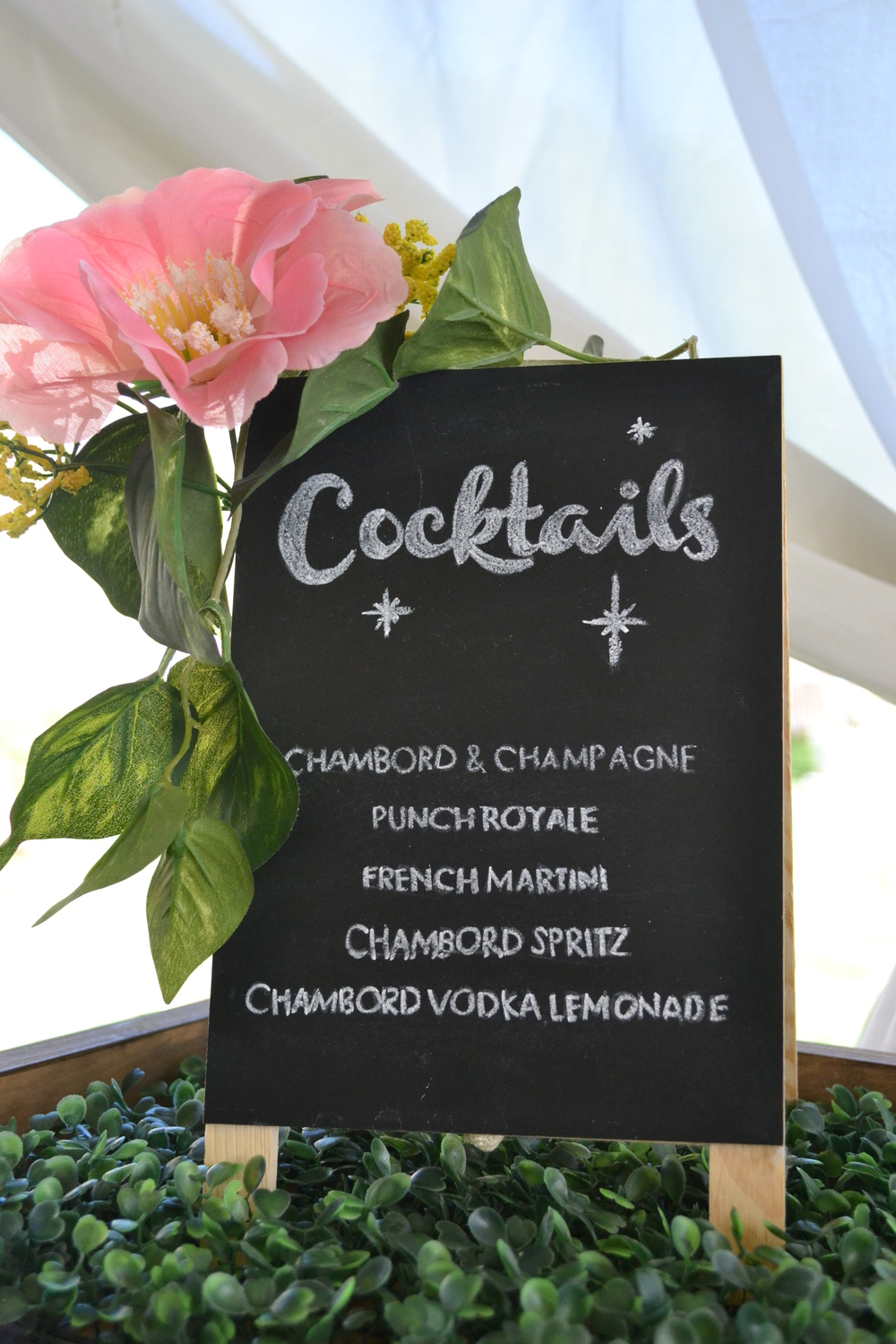DIY cocktail menu featuring Chambord signature cocktails.