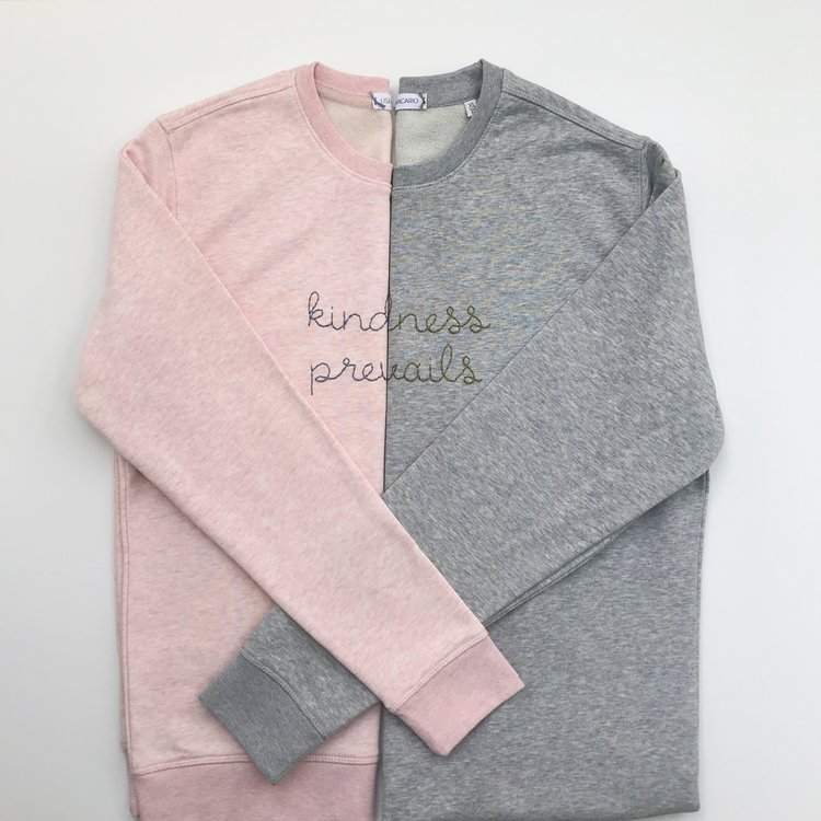 Lisa Macario kindness prevails hand embroidered sweatshirt