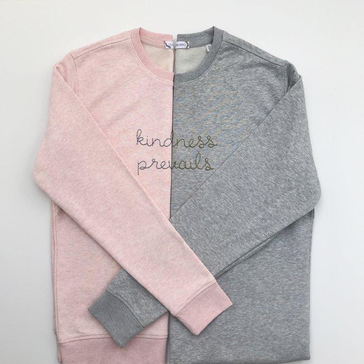 Lisa Macario kindness prevails hand embroidered sweatshirt