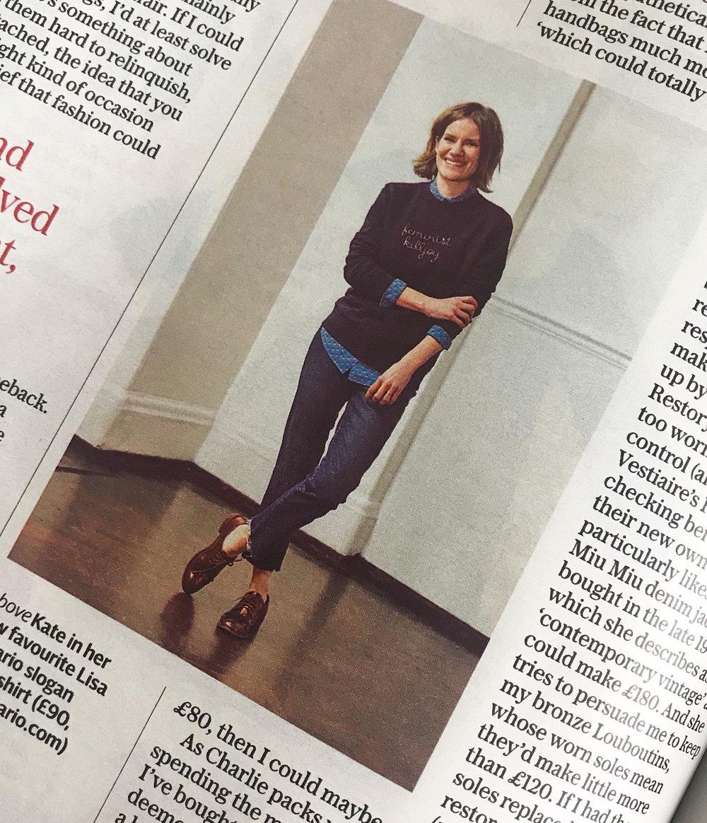 Lisa Macario Telegraph Stella Magazine feminist killjoy hand embroidered sweatshirt