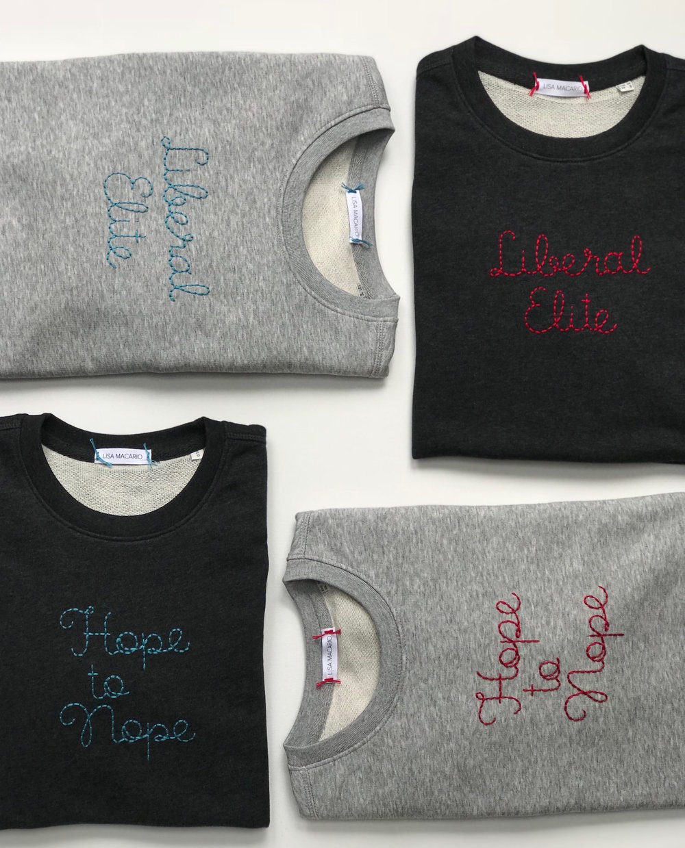 Lisa Macario The Design Museum Hope to Nope Liberal Elite hand embroidered Sweatshirt