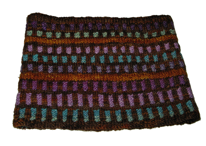 This cowl features an optional background accent of a stripe in addition to the pleasing array of colored tabs.
