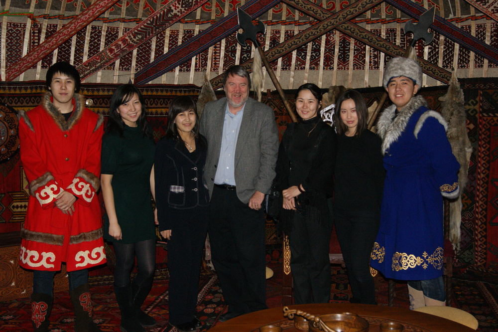 A very well-appointed yurt.  My interpreter, Diana Akizhanova, is third from the right