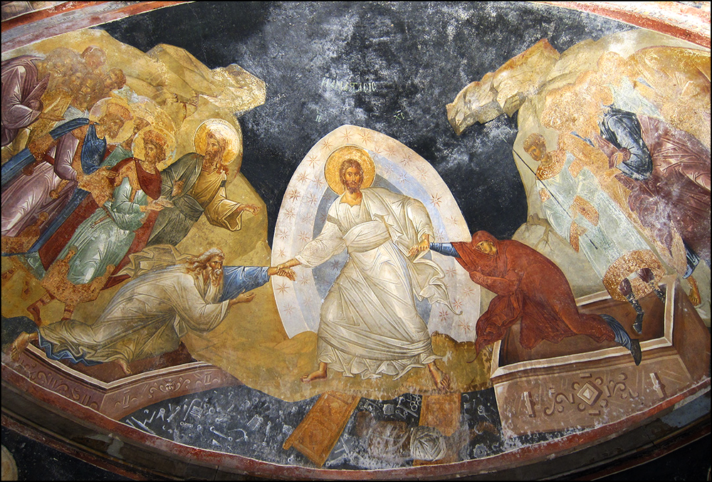the harrowing of hell: Christ raises adam and eve from their tombs (chora church, Istanbul)