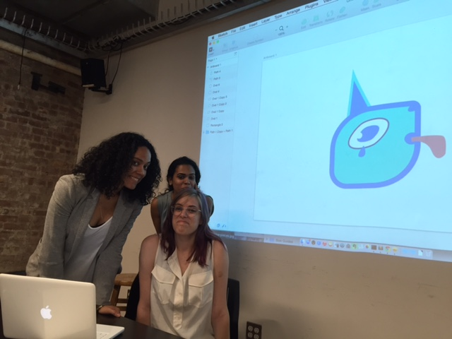 Taken at the end of the 'Using Sketch' workshop, when everyone illustrated blue unicorn logos! I was frowning to match the unicorn.