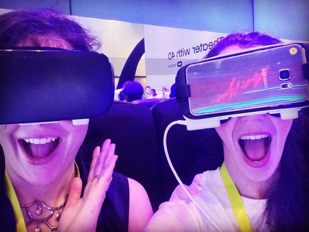 Vidcode co-founders Allie and Melissa, experiencing a virtual reality roller coaster at CES 2016!