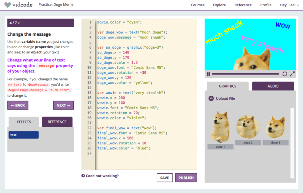 Coding Platform - The next step after Scratch or drag & drop codingBite-sized tutorialsDesigned to be inclusiveStudents can upload and use their own graphics, videos, and audio