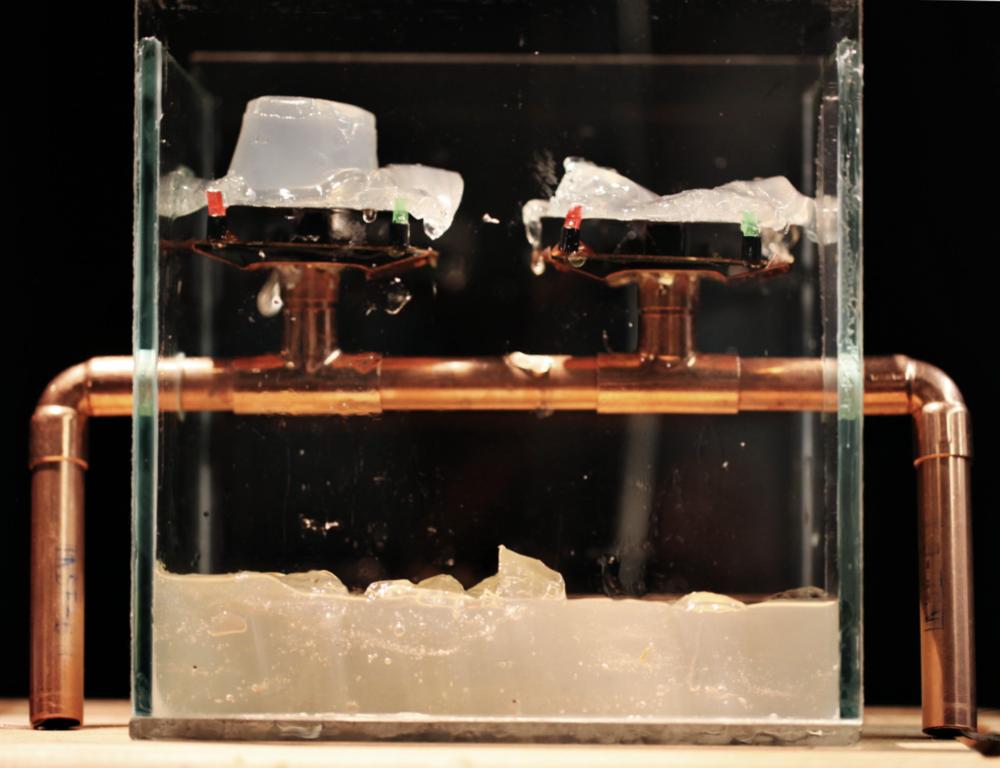 Heat Sculpture, 2013 - gelatin, glass, copper, 2 usb coffee mug warmers, an arduino, and a kinect