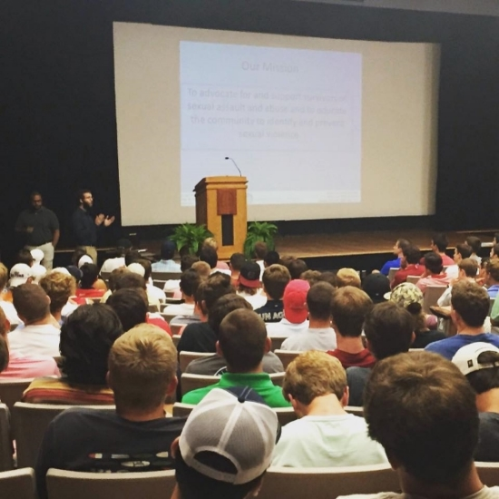 Facciani speaking about consent and sexual violence prevention to the incoming fraternity men at The University of South Carolina