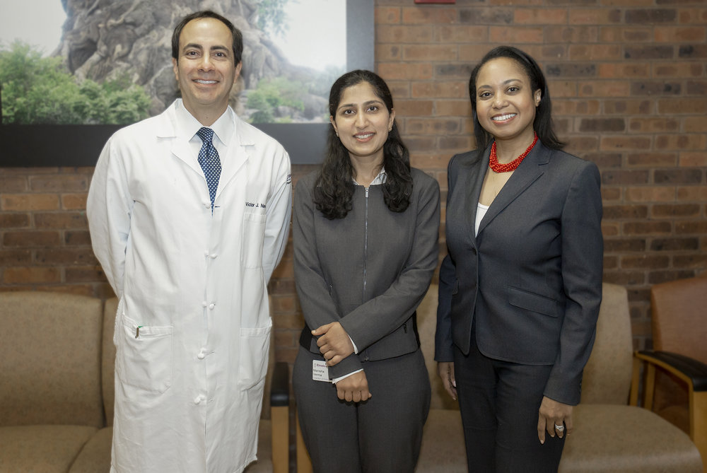 Drs. Victor Navarro and Manisha Verma with GLI President & CEO, Donna Cryer at Einstein in Philadelphia for the research advisory board meeting