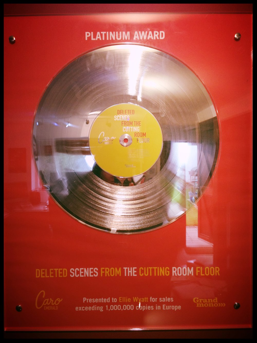 "Platinum disc awarded for work on the multi-Million selling album ""Deleted Scenes from the cutting room floor"" by Caro Emerald."