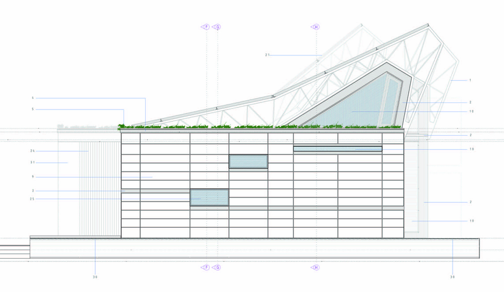 The east elevation allows openings for natural ventilation and light for morning activity. These are limited in size in order to balance solar heat gain with cooling goals for the solar electric air cooling system.