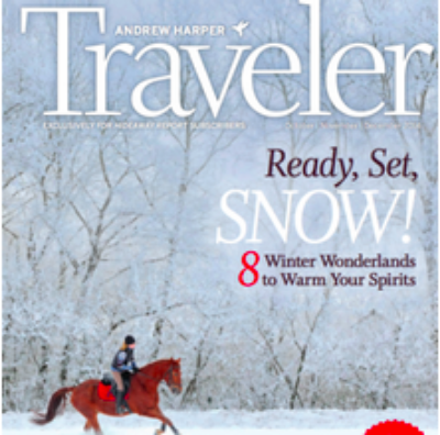"""Dashing Through The Snow""  Harper Traveler Oct/Nov/Dec 2014 cover story"