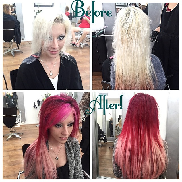 From fried out platinum to pretty in pink! Color by Vanessa, extensions by Laura! #prettyinpink #extensions #redandpinkombre #ombrecolor #nomoreblonde