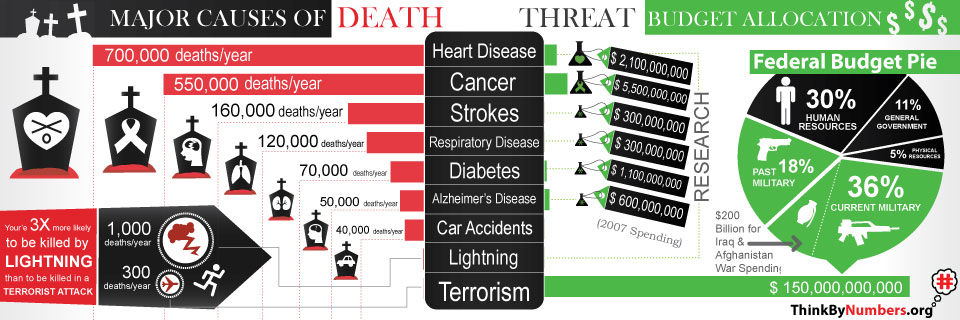 Compare Deaths with budget allocation. By ThinkByNumbers.