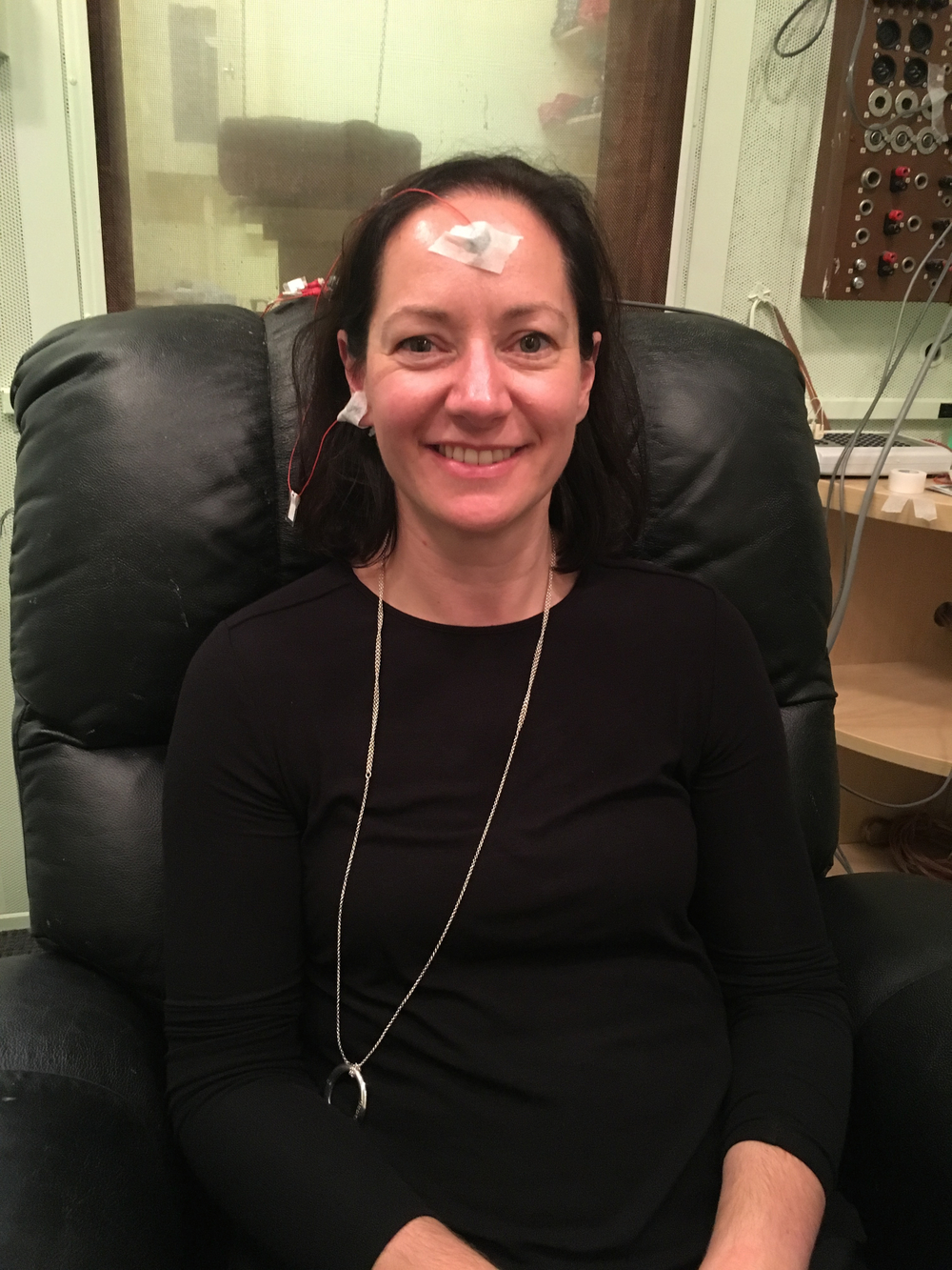 Anita experiencing auditory processing research the Dr Nina Kraus' Brainvolts Lab at Northwestern Univeristy