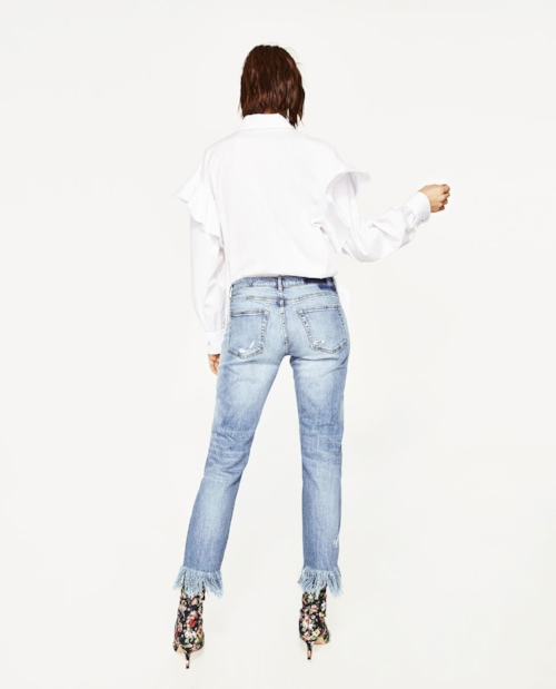 ZARA Mid-Rise Boyfriend Jeans    1. Love the light wash of these jeans and the dramatically frayed edges! Perfect spring jeans.
