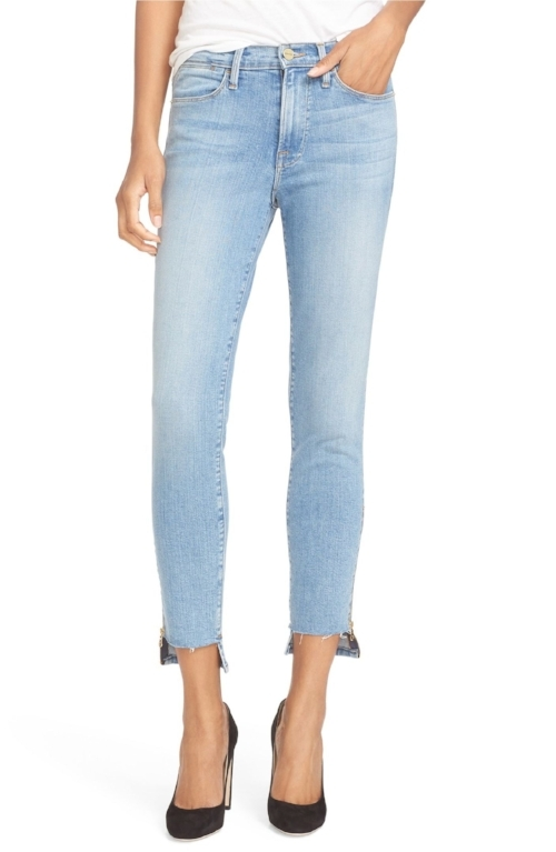 FRAME Step Hem High Waisted Skinny Jeans   3. Another trendy pair of light washed jeans  (I love the black pair too!)  with a step hem perfect for showing off a great pair of shoes or a fresh pedicure.