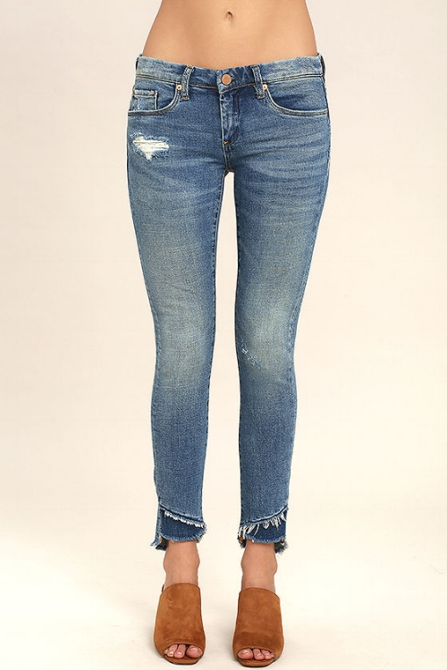 Blank NYC Skinny Classique Medium Wash Distressed Skinny Jeans   5. I love the slightly different take on the raw hem and the darker patch of fabric below the first hem. These jeans have a slightly worn in look but could easily be dressed up or down!