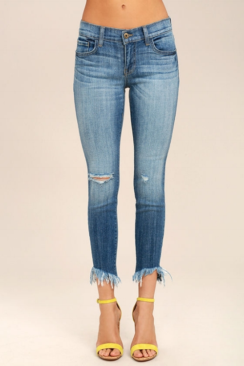 Audrey Medium Wash Distressed Ankle Skinny Jeans   6. The diagonal hem on these jeans is so cool and I'd be lying if I said the yellow shoes didn't make the whole look way cooler to me!