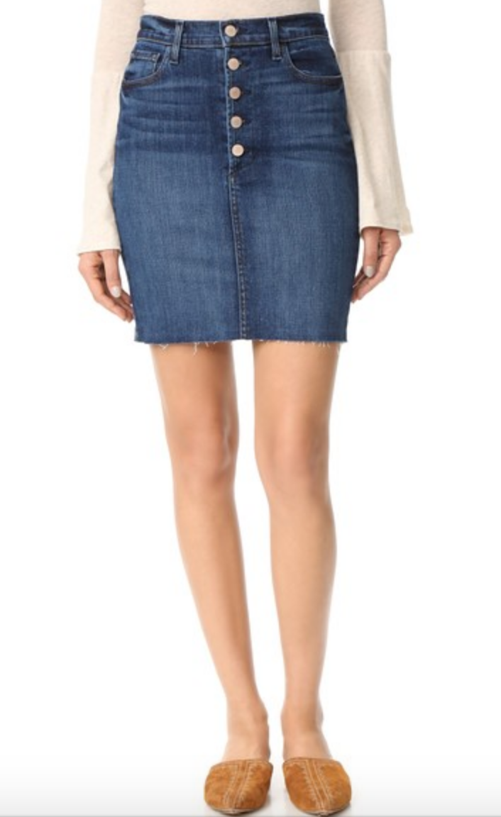 The buttons jazz this skirt up and I think the denim wash looks like it would be incredibly flattering!