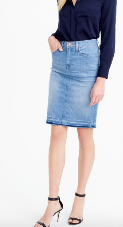 This skirt is a bit longer and perfect for dressing it up a bit, and the raw hem is perfectly on trend.
