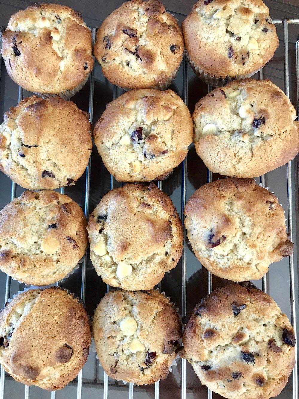 white chocolate chip cranberry muffins