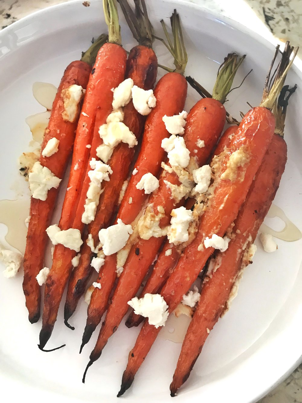 honey and goat cheese roasted carrots