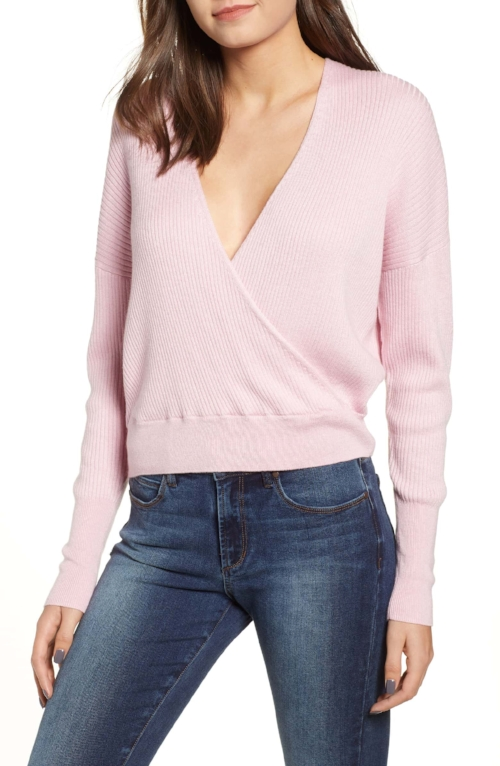 I've seen a ton of bloggers rocking this wrap sweater lately and I love that it's cozy but can be dressed up for a night out! Be sure to size down!