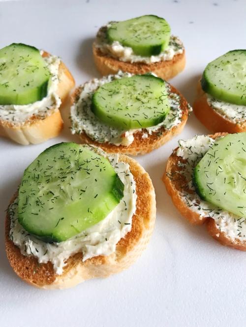 Cucumber Cream Cheese Toasts