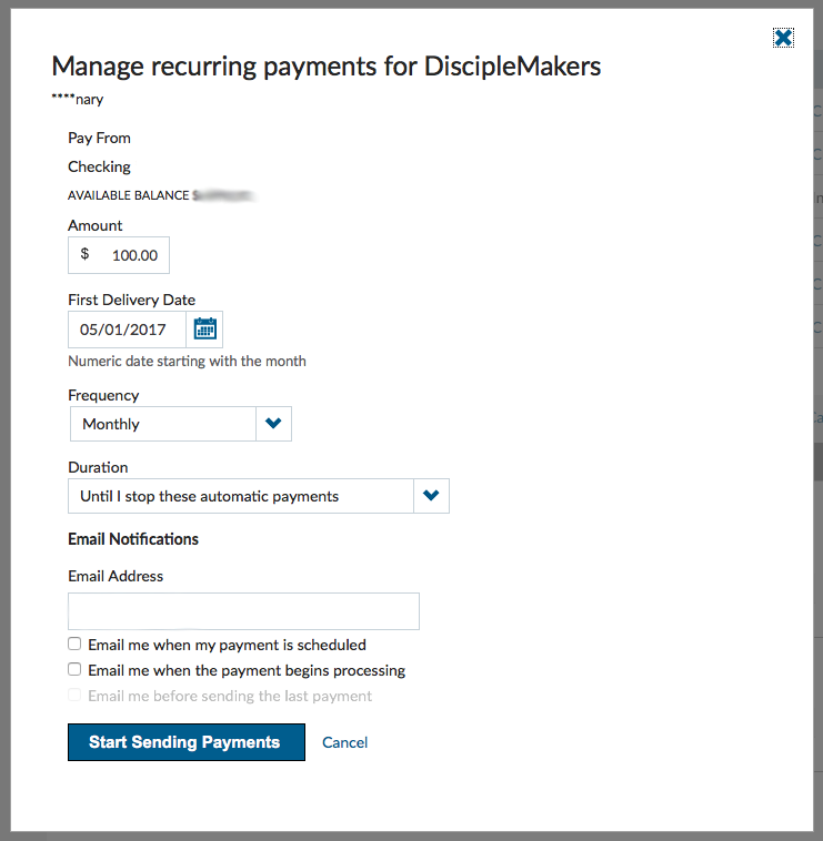 Sample Add Automatic Payment Screenshot