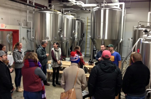 Guests on a tour last week visited Foundation Brewing Company and were among the first to try the latest batch of Epiphany IPA.