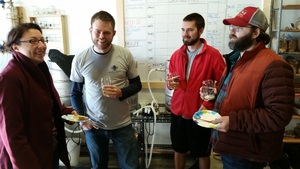 From left, Carla Lauter, beer writer; Ian Dorsey and Neil Frederick, co-founders of Mast Landing Brewing; and Zach Poole of The Maine Brew Bus try out the beer samples.