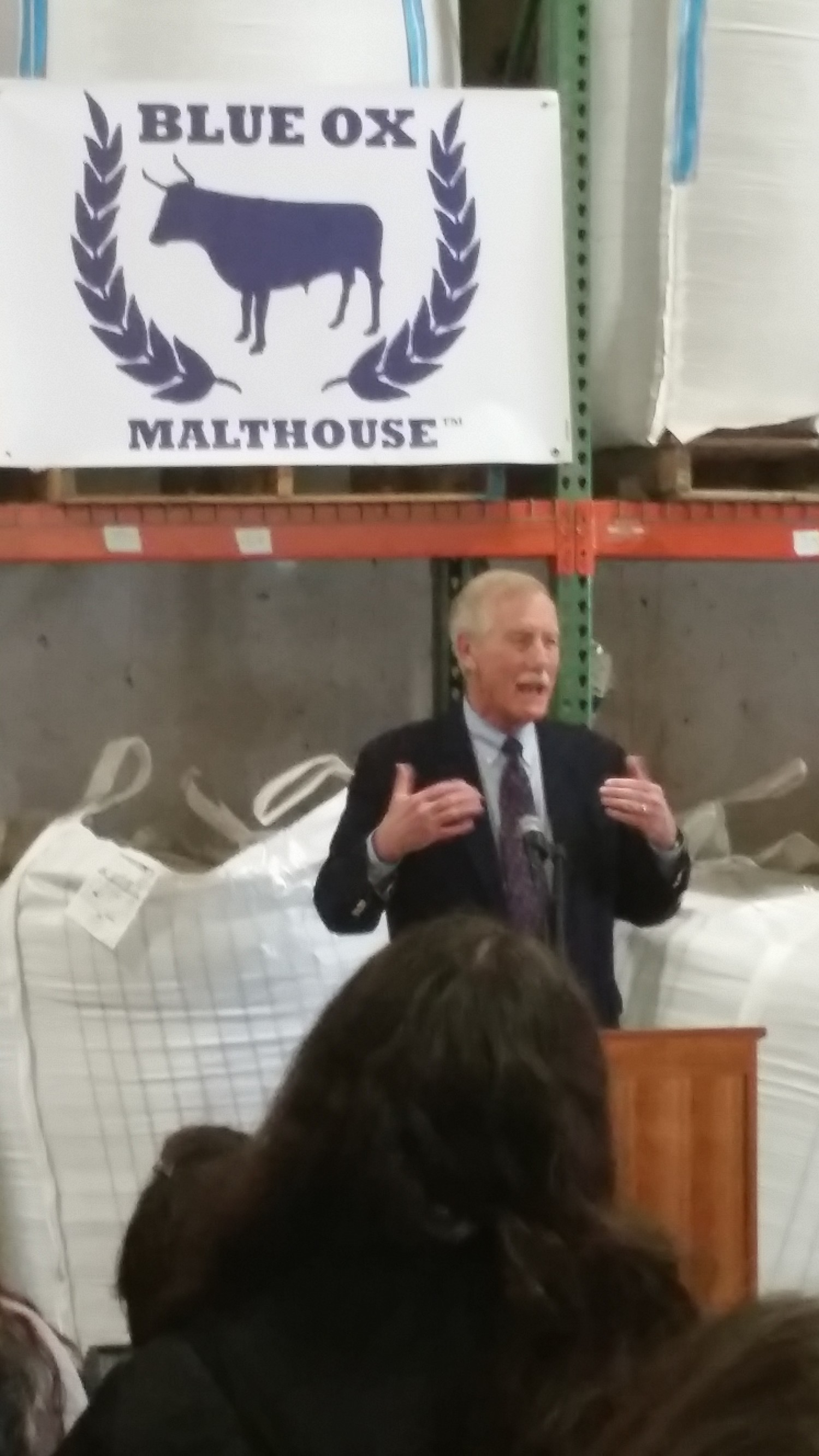 Senator Angus King told the crowd how important it is for Maine to have value-added processing of local grown products to stay in the state as Maine industries. Blue Ox Malthouse is a perfect example of addressing this need.