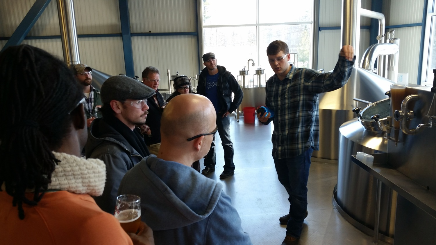 At Allagash Brewing Company, Adam took the group around on a very special VIP tour. Here is the brewhouse deck, seldom seen by outsiders during brewing operations.