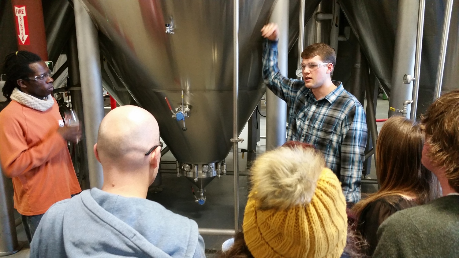 """Adam talks about the """"small"""" fermenters that can hold over 153 barrels but are generally filled to a capacity of 120 bbls. This works out to be 3,720 gallons of beer per fermenter."""