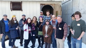 The full Andy's Old Port Pub group after a very rare viewing of the famous Allagash Coolship.
