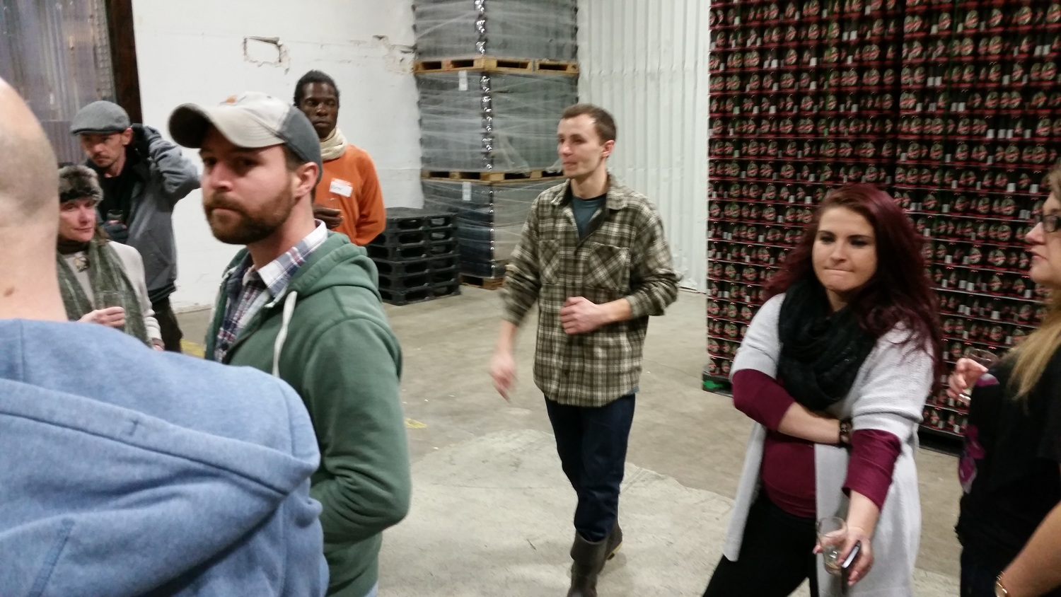 Tyler leads the group through the massive Geary's packaging room
