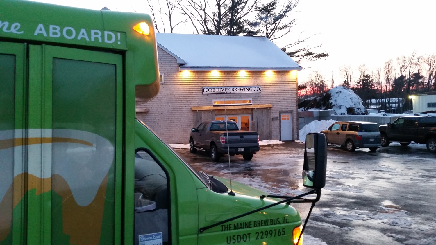 As the sun begins to set, the group has a second wind and it's off to Fore River Brewing Company which had opened in South Portland only 12 days prior.