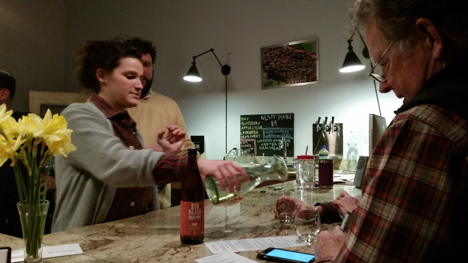 At Maine Mead Works, Leah poured each of the groups samples of several different still and sparkling meads, as well as iced teas and lemonade. The first-run bottle of Ginger Mead was also opened for the group.