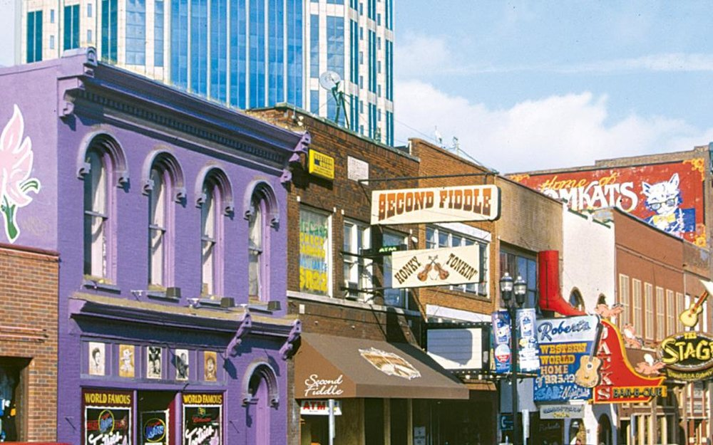 CLUB-HOPPING MECCA LOWER BROADWAY.  PHOTO COURTESY NASHVILLE CONVENTION & VISITORS CORPORATION