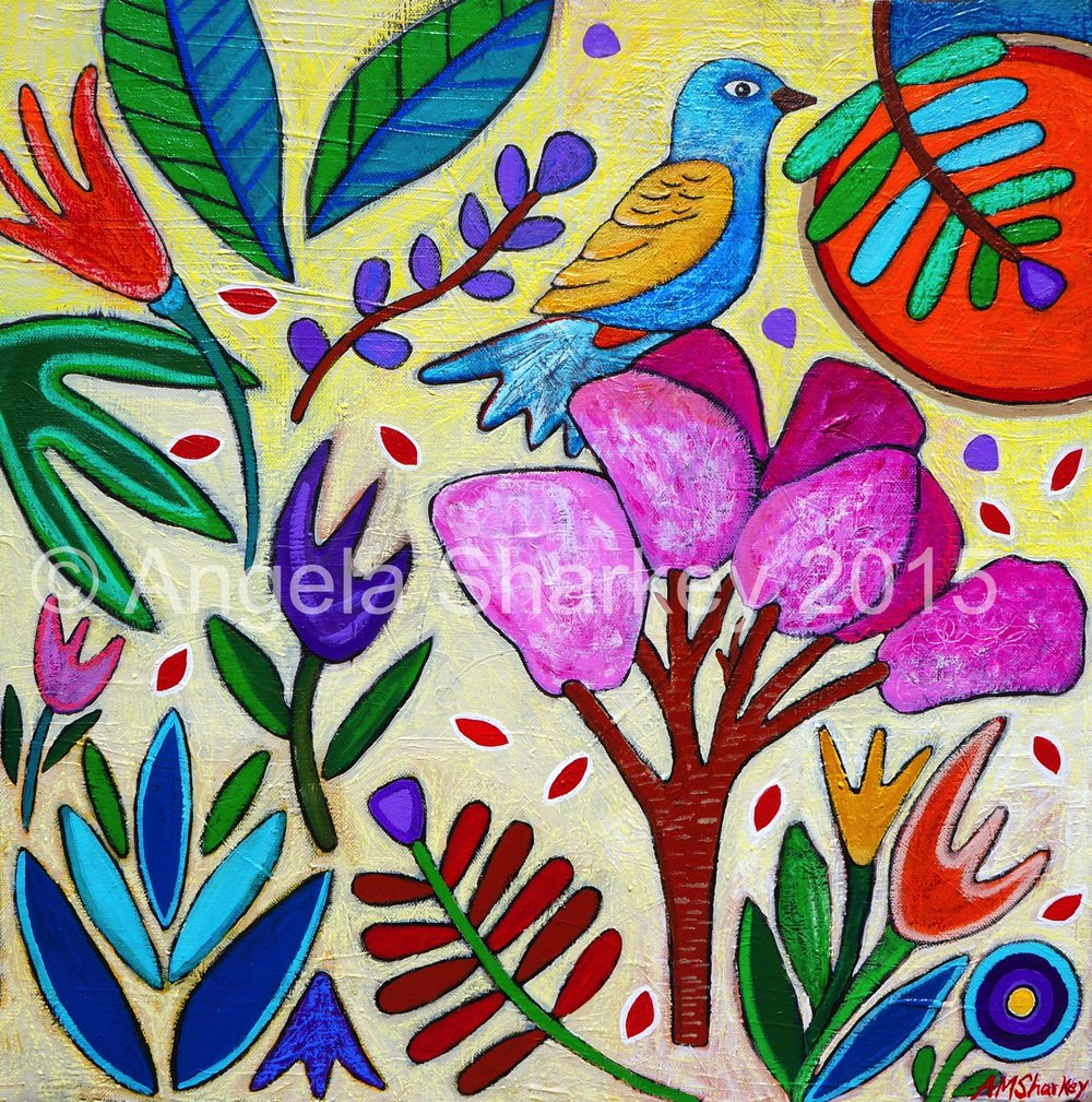 Spring Floral With Bird