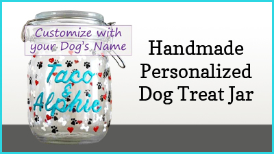 Perfect for stick treats or cookies. Treat Jar is 34 ounces. 100% of proceeds go to support I.C.A.R.E. Dog Rescue.