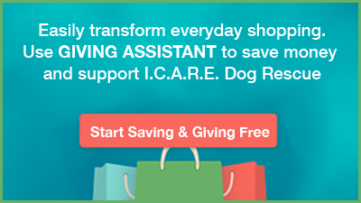 Donate up to 30% of your purchase price to I.C.A.R.E. Dog Rescue when you shop at 1800+ popular online retailers. Giving Assistant pays you cash back, and you choose how much of it you'd like to donate to us.