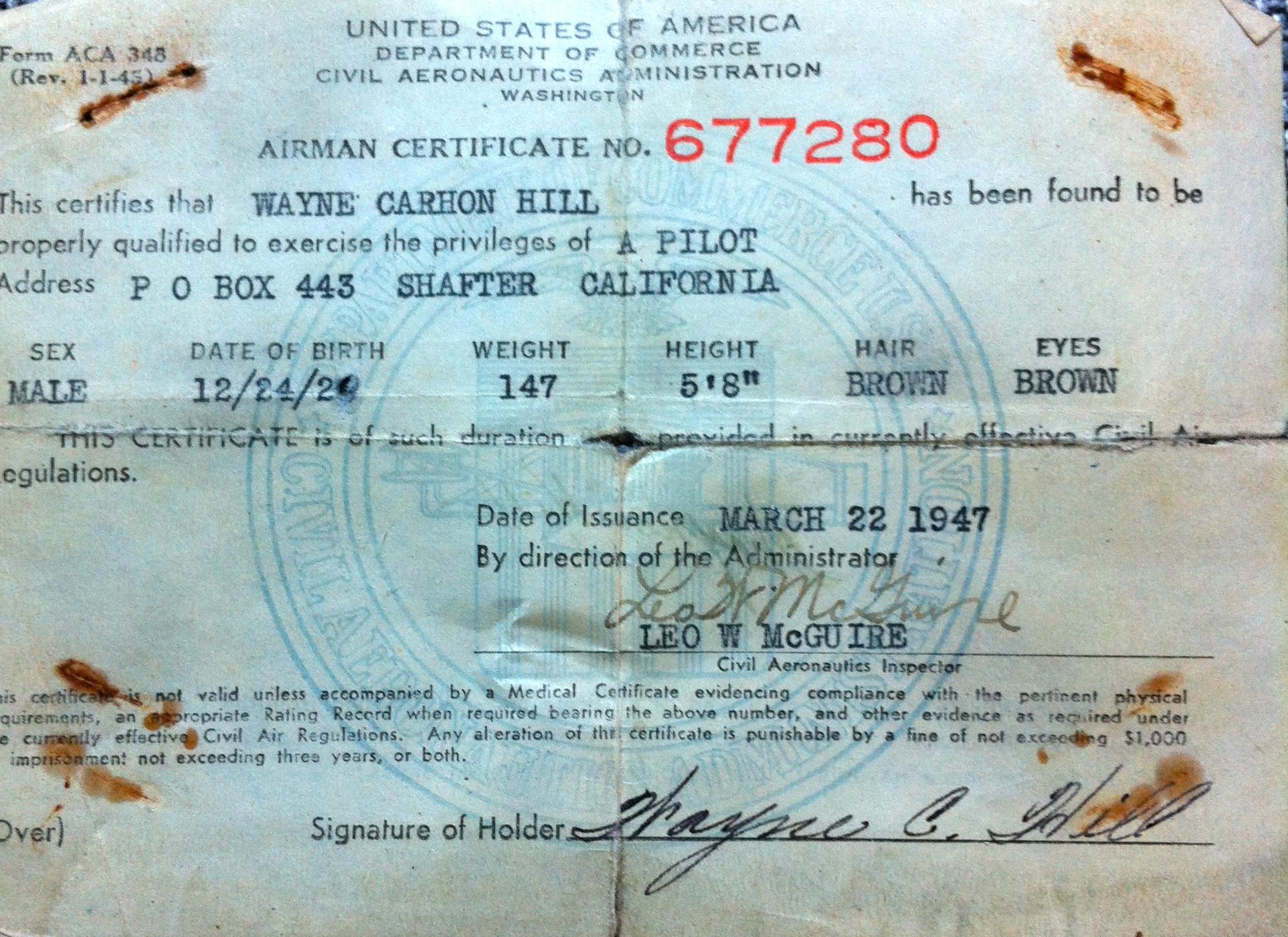Wayne Carlton Hill Pilot's License